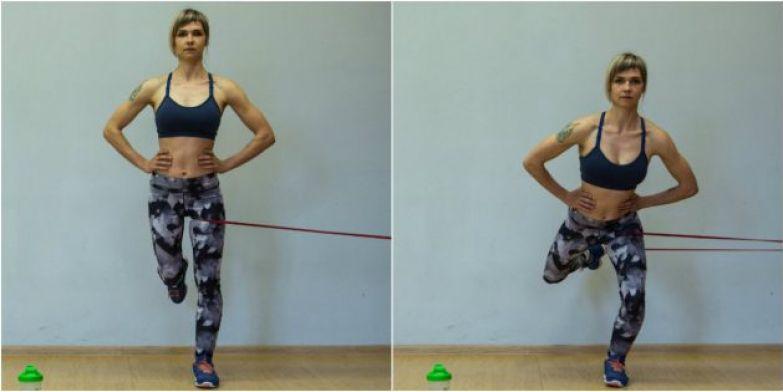 Упражнения для коленей: Приседания на одной ноге с сопротивлением