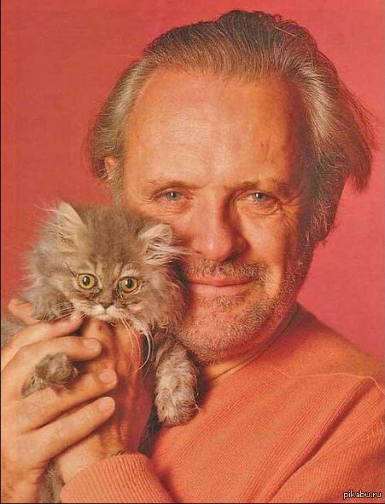 Картинки по запросу энтони Хопкинс с котенком
