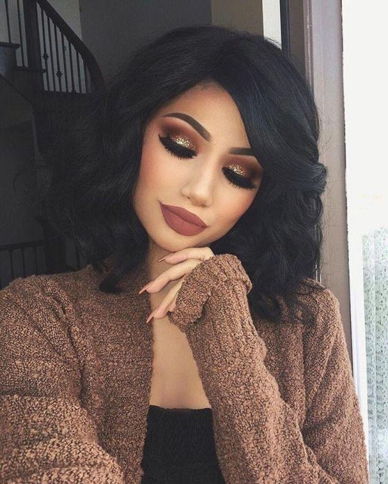 Золотистый макияж на осень