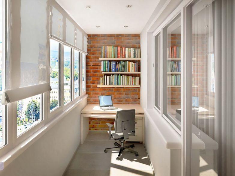 Открытые полки со столом на балконе фото
