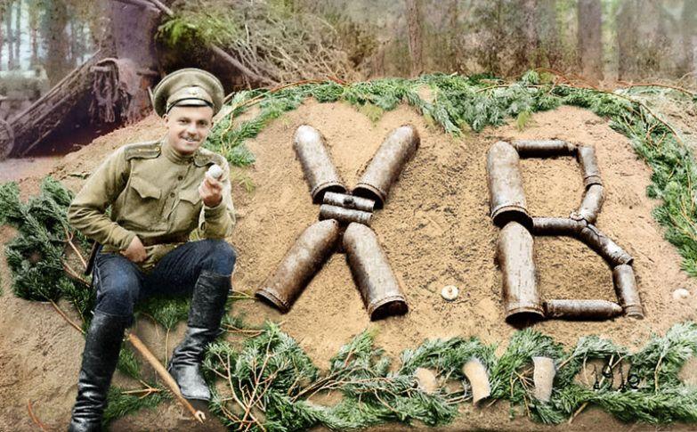 36. Пасха на фронте, 1916 год время, россия, фотография, цвет