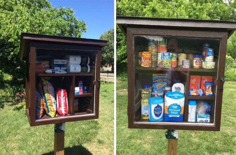37. Женщина поставила на улице шкаф с продуктами для нуждающихся доброта, мир, поступок