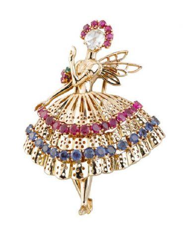 Брошь «Балерина», желтое золото, сапфиры, рубины, изумруды, бриллиант, 1947 год, Van Cleef & Arpels