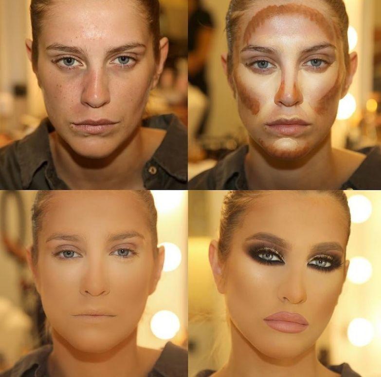 1. Просто волшебство какое-то до и после макияжа, контуринг, макияж