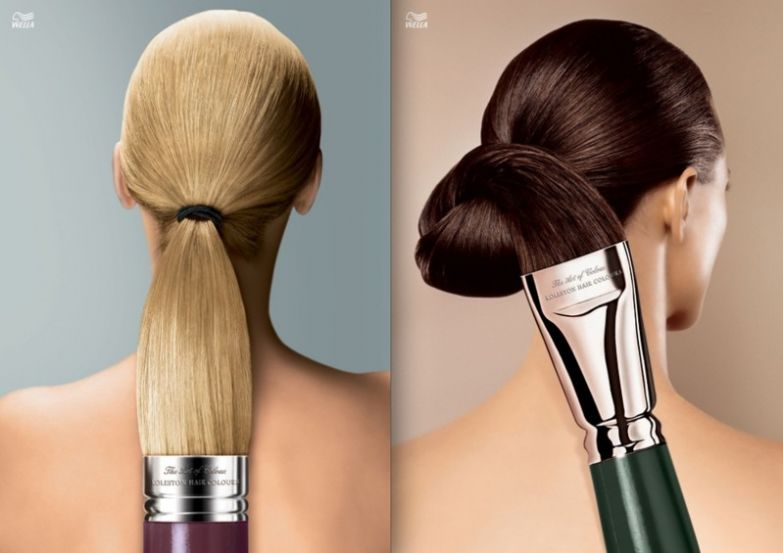 4. Краска для волос Wella делает волосы такими мягкими, что ими можно рисовать интересно, креативная реклама, рекламные, трюки