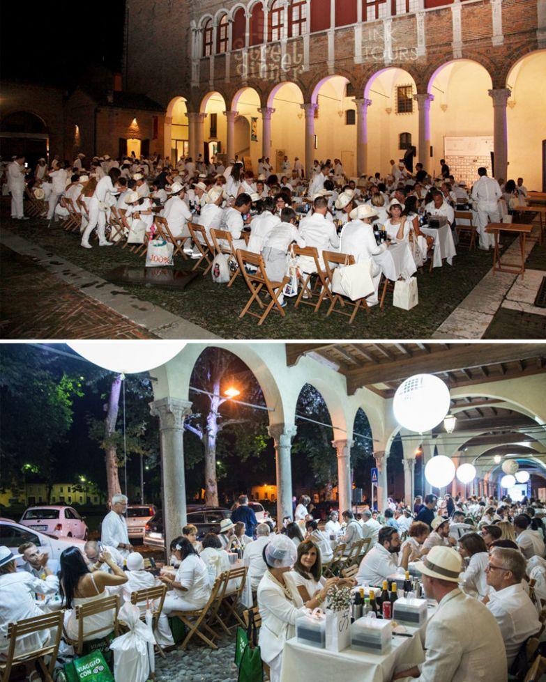 Ужин на улице (гости до последнего не знают, где будет проходить застолье), Street Dinner, Феррара, Италия мир, подборка, ресторан