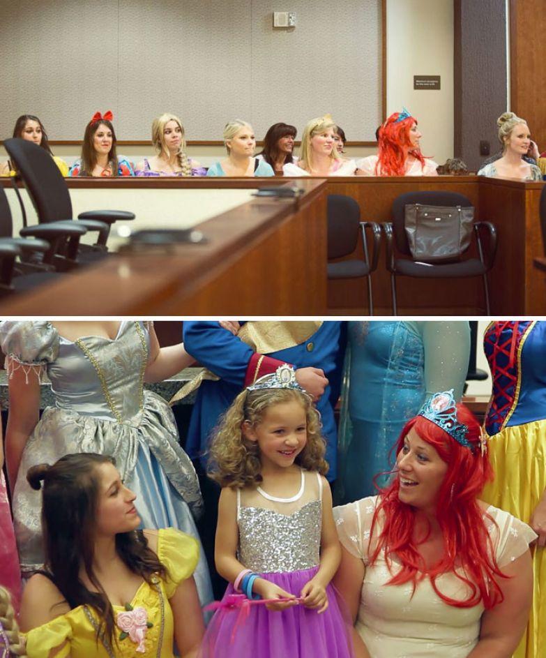 30. На слушание по удочерению 5-летней девочки весь зал суда оделся в платья диснеевских принцесс доброта, мир, поступок