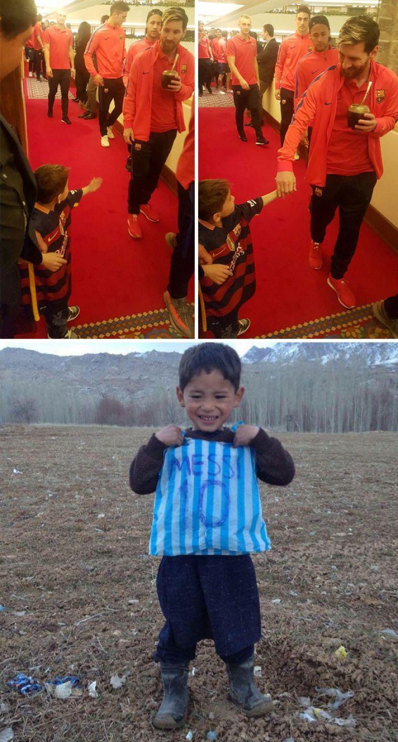 36. Месси встретился с афганским мальчиком, сделавшим его футболку из пакета доброта, мир, поступок