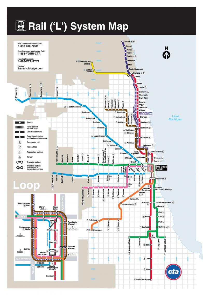 12. Чикаго — 145 станций (8 линий) в мире, карты, метро, транспорт