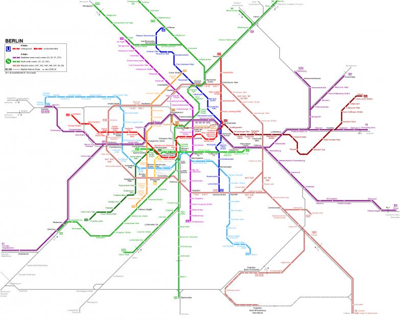 11. Берлин — 173 станции (10 линий) в мире, карты, метро, транспорт