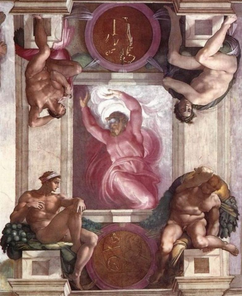 Микеланджело, «Бог, отделяющий свет от тьмы», потолок Сикстинской капеллы.