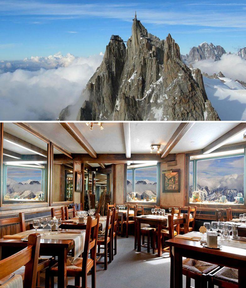 Ресторан на горе Эгюий-дю-Миди на высоте 3842 м, Шамони, Франция мир, подборка, ресторан