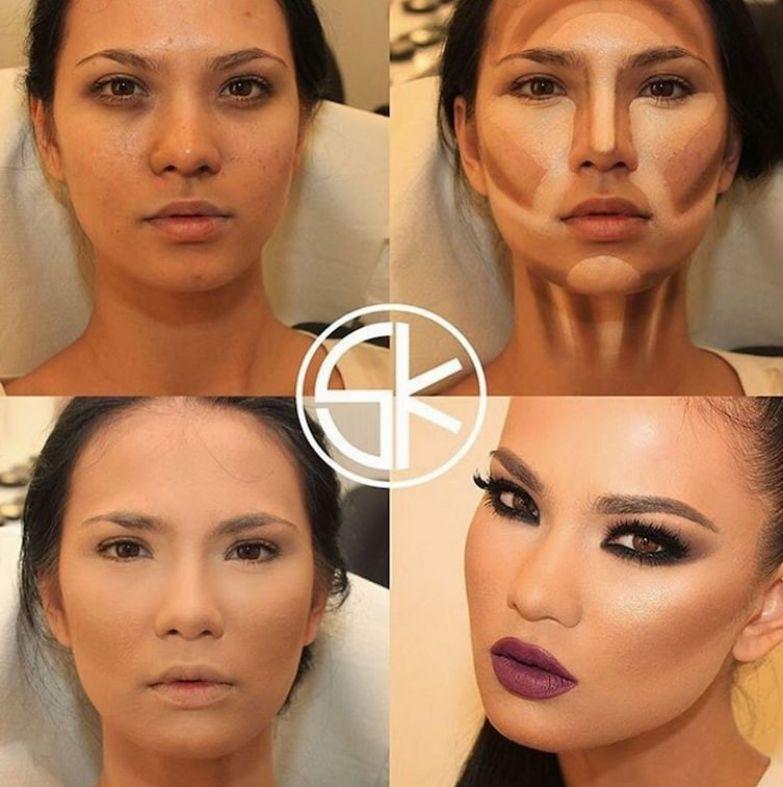 9. Контурирование шеи до и после макияжа, контуринг, макияж