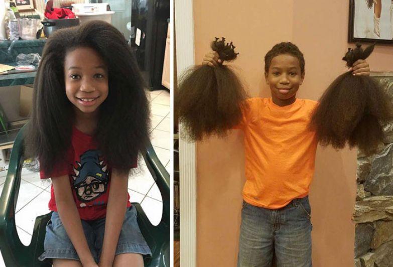 15. 8-летний Томас Мур два года растил волосы, чтобы сделать парики для онкобольных детей доброта, мир, поступок