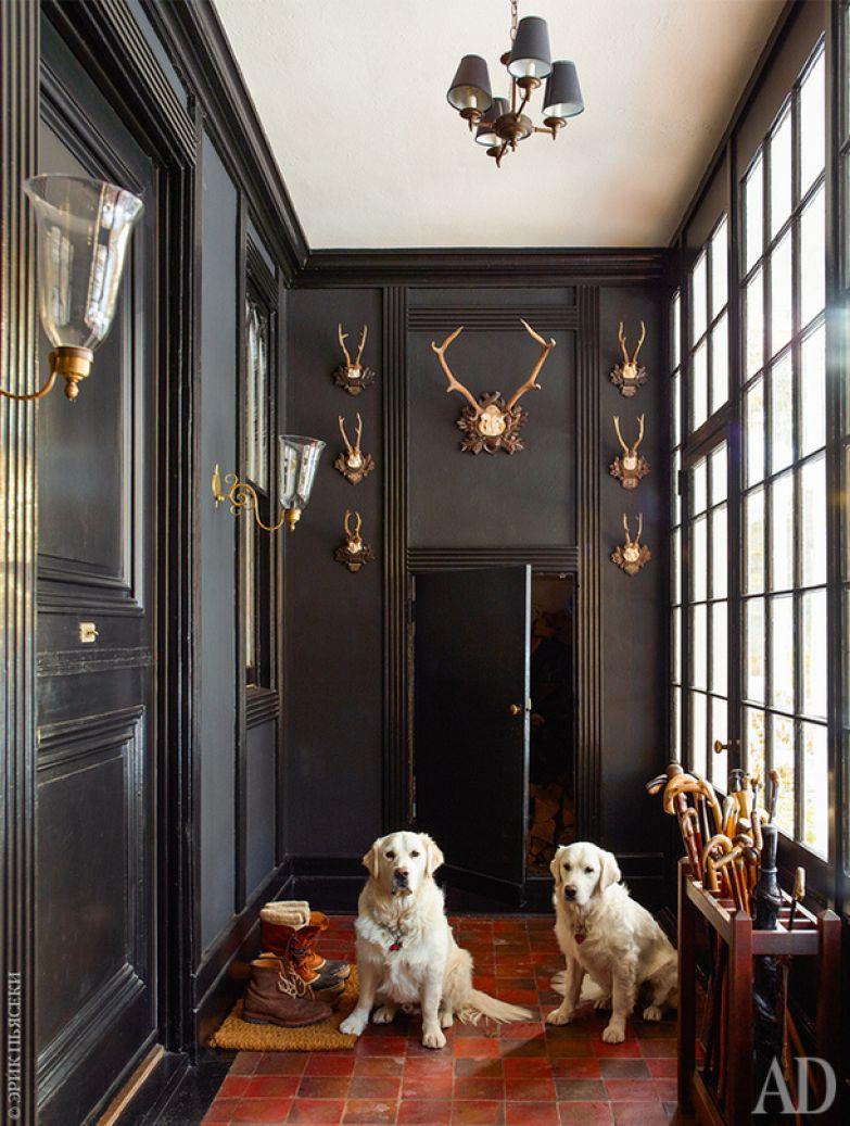 Собаки хозяина (золотистые ретриверы Борис и Наташа) в прихожей, украшенной оленьими рогами из Южной Германии.