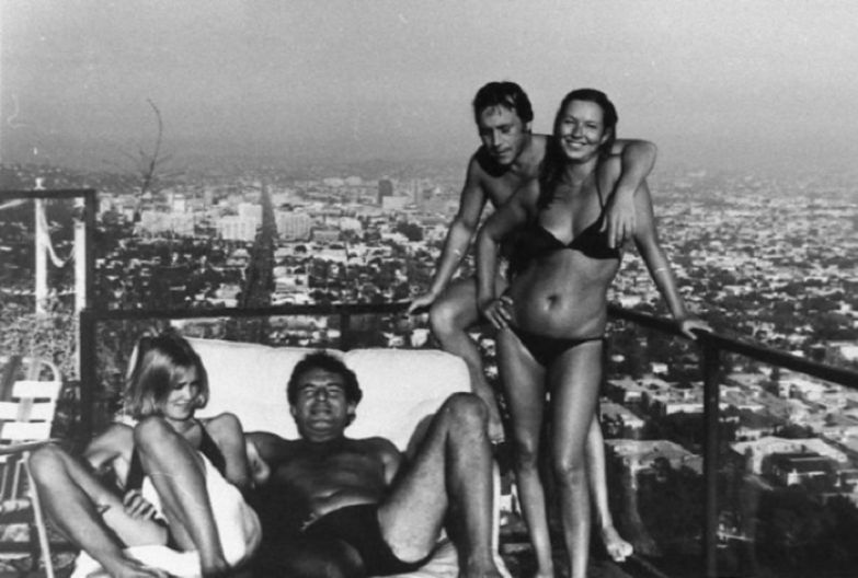 Джессика Лэнг, Милош Форман, Владимир Высоцкий и Марина Влади. Лос-Анджелес, август 1976 года.