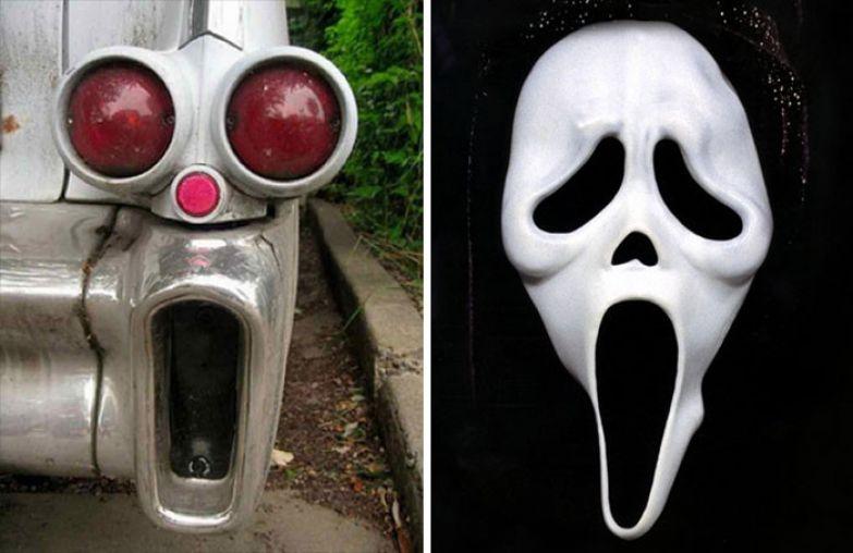 """25. Задние фары выглядят как маска из фильма """"Крик"""" вещи, люди, похожие лица, схожесть"""