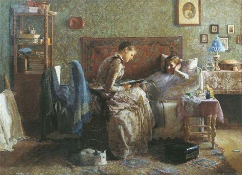 Иван Горохов. У постели выздоравливающей. 1886.