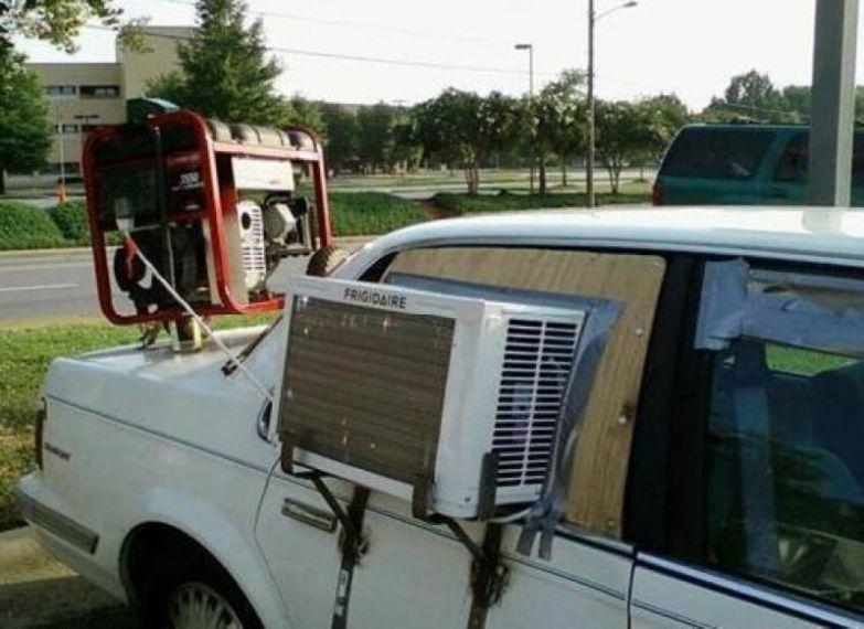 В принципе, можно было просто опустить окна. Но если захотелось именно кондиционера… кулибины, приколы, экономия, юмор