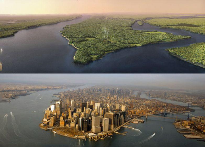 16. Манхэттен, Нью-Йорк в 1609 году и сейчас: интересные фото, удивительное рядом, факты