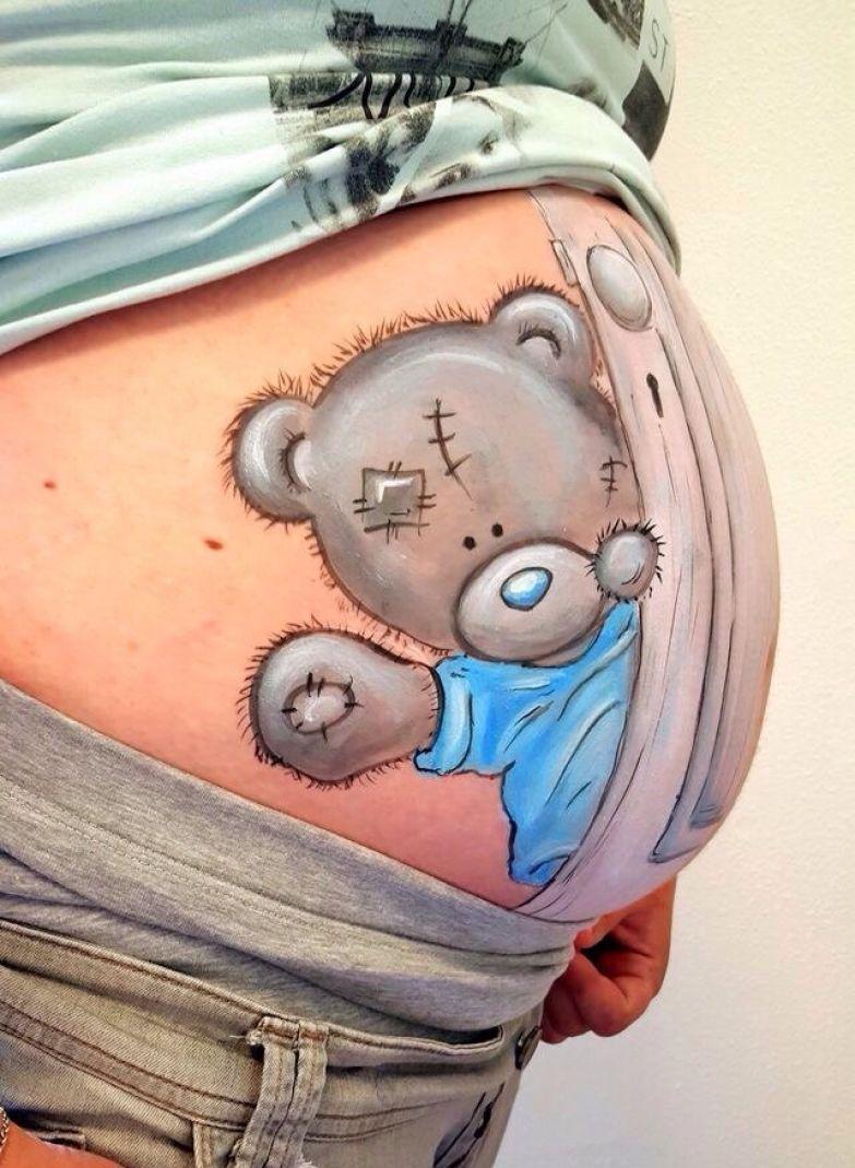 Рисунок на живот беременных 59