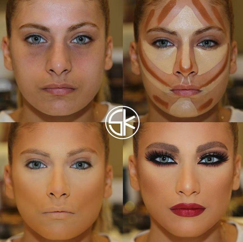 14. Визуальное уменьшение кончика носа до и после макияжа, контуринг, макияж