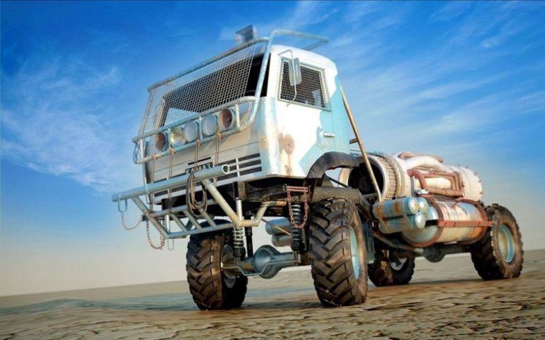 Как будто из фильма про безумного Макса. Тракторы, автобусы, автомобили, грузовики, тюнинг