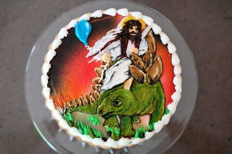 """My Mom Asked My Brother What He Wanted On His Birthday Cake. He Said, Jokingly, """"Jesus Riding A Stegosaurus"""""""
