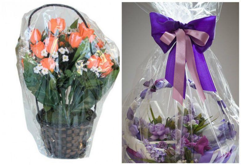 Корзины и букеты, полностью упакованные в прозрачную пленку. низкое качество, обман, флористика, цветы
