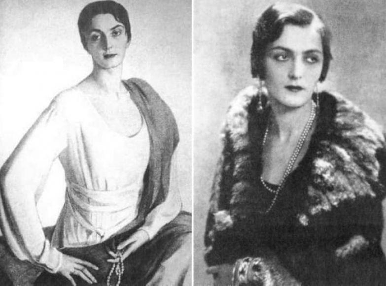 Слева – С. Сорин. Портрет Мэри Шервашидзе. Справа – княгиня Шервашидзе-Эристави, фото   Фото: liveinternet.ru