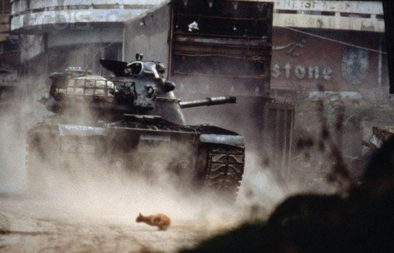 Кот перебегает через улицу во время уличного боя в Бейруте, Ливан, 1980-е. история, события, фото