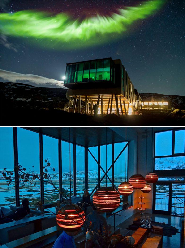 Бар с видом на северное сияние, отель Ion, Исландия мир, подборка, ресторан