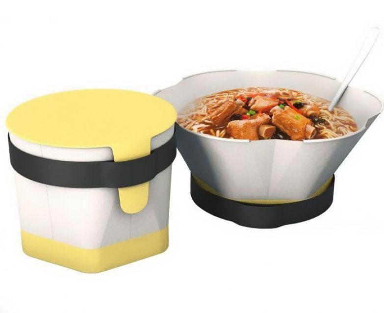 Упаковка для лапши быстрого приготовления, которая уменьшается в размерах, когда она пуста и увеличивается, когда в ней есть вода. Дизайн — Cao Weizhi&Ding Jian&Chen Yuru