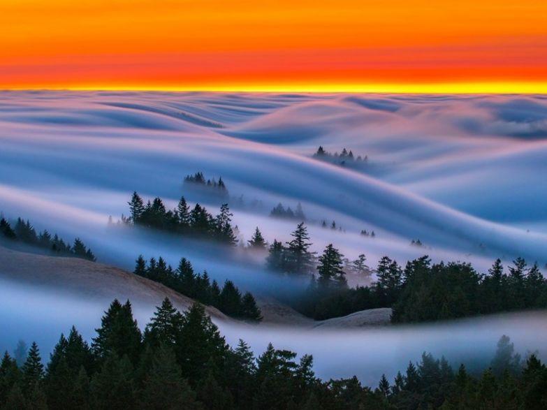 «Волны» тумана без фотошопа, природа, удивительные фото, человек