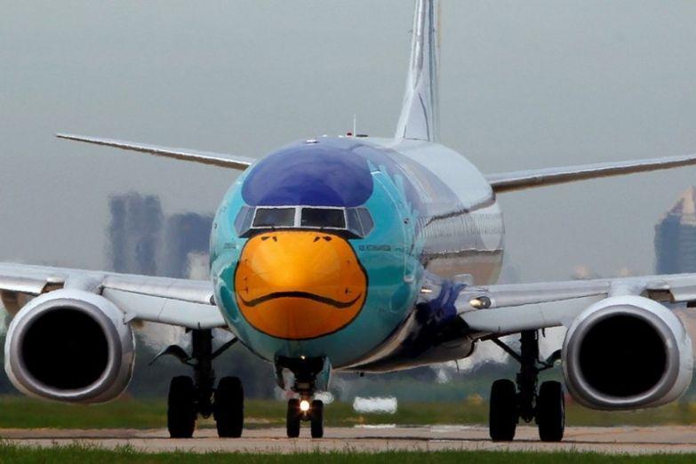 Бюджетная тайская Nok Air сразу несколько своих бортов раскрасила в стиле птичек Angry Birds. необычные самолёты, раскраска, самолёты
