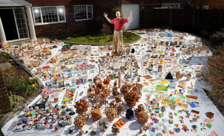 Laurie Brokenshire is such a puzzle fanatic that he has had to build an extension on the side of his home in which to keep his huge collection — all 10,000 brainteasers. Laurie, 56, spent £30,000 building the extra room to house his collection, which includes over 400 variations of the traditional Rubik