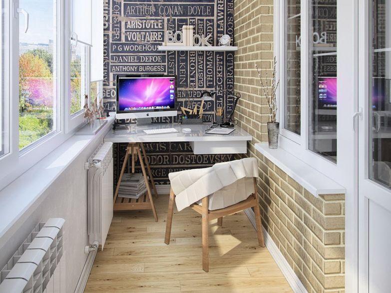Стильный кабинет на балконе фото