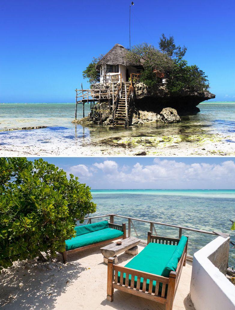 Ресторан с видом на Индийский океан, The Rock, Занзибар, Танзания мир, подборка, ресторан