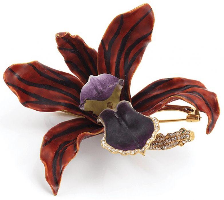 Брошь «Орхидея». Золото, эмаль, бриллианты.