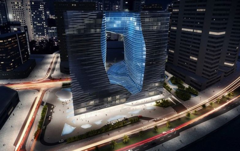 21-Story Floating Opus Office Tower. Zaha Hadid Architects.