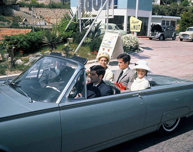 Софи Лорен с Карло Понти, Аленом Делоном и Роми Шнайдер в Каннах (1962)