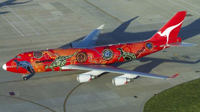 Оригинальная расцветка самолёта австралийской Qantas Airways. необычные самолёты, раскраска, самолёты