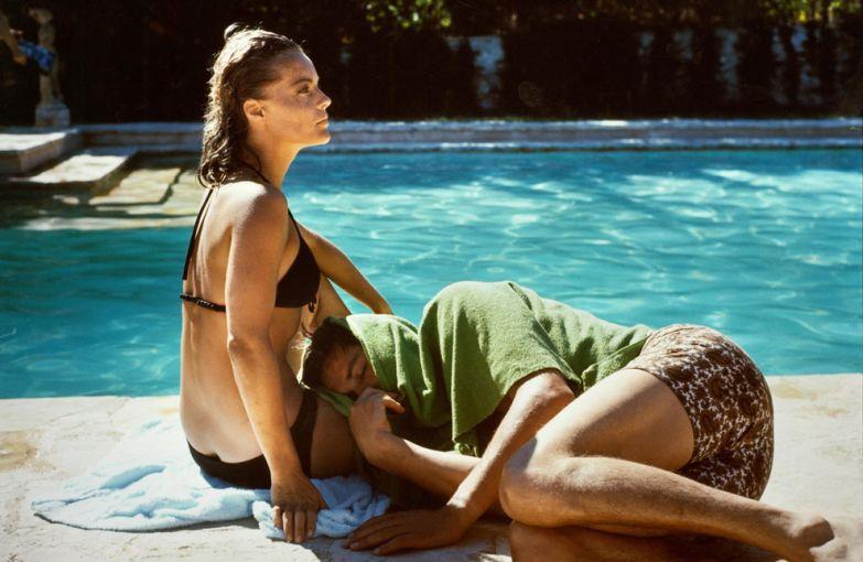 Роми Шнайдер и Ален Делон на съемках фильма «Бассейн», 1968