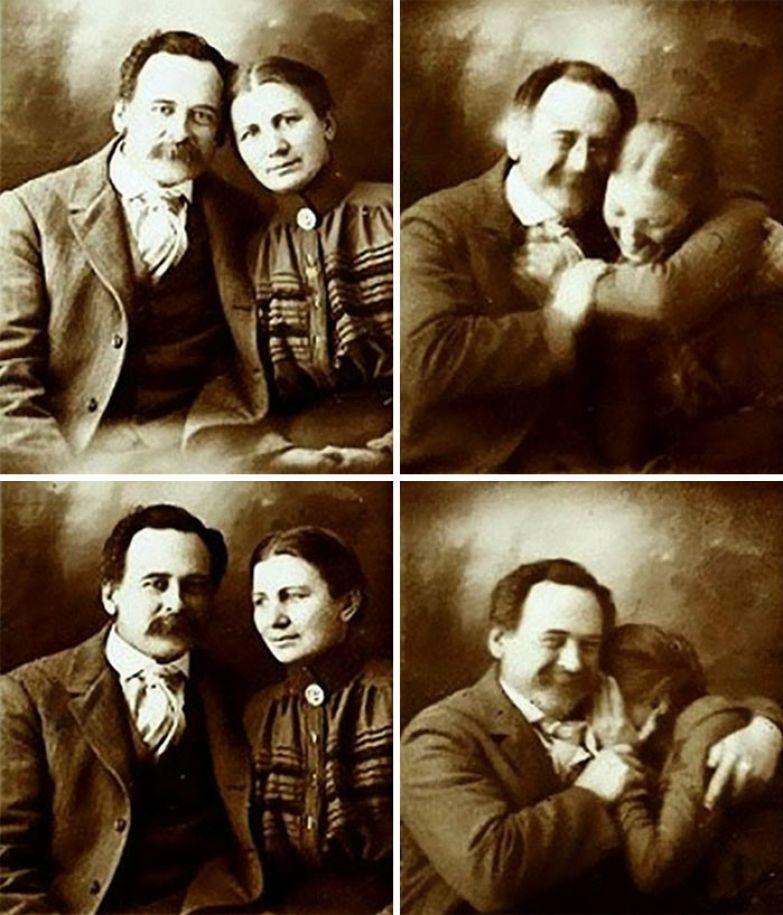 2. Викторианская пара, которая не может удержаться от смеха во время съемки, 1890-е гг. архивные фотографии, лучшие фото, ретрофото, черно-белые снимки