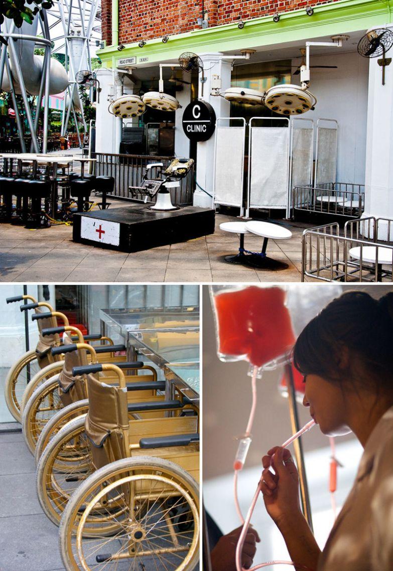 Медицинская тематика, The Clinic Bar, Сингапур мир, подборка, ресторан