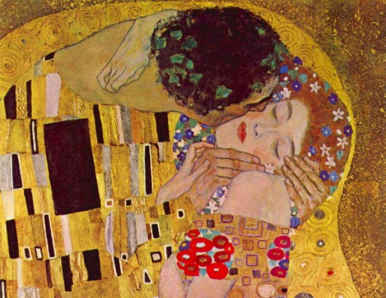 Фрагмент картины «Поцелуй» Климта.