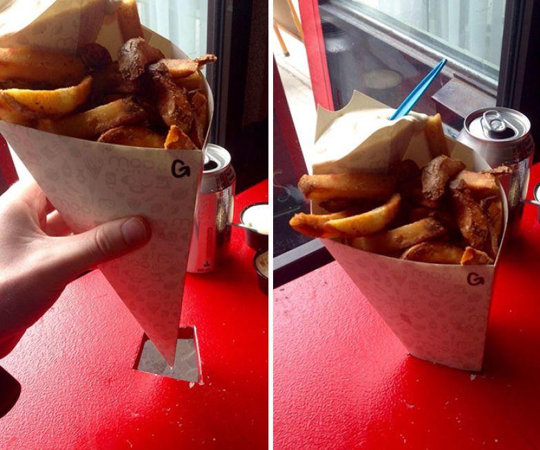 Такой стол с дыркой помогает не мучиться от невозможности правильно разместить еду конической формы - от картофеля вот в таких кульках до мороженого в рожке нестандартно, оригинально, проблемы, решения