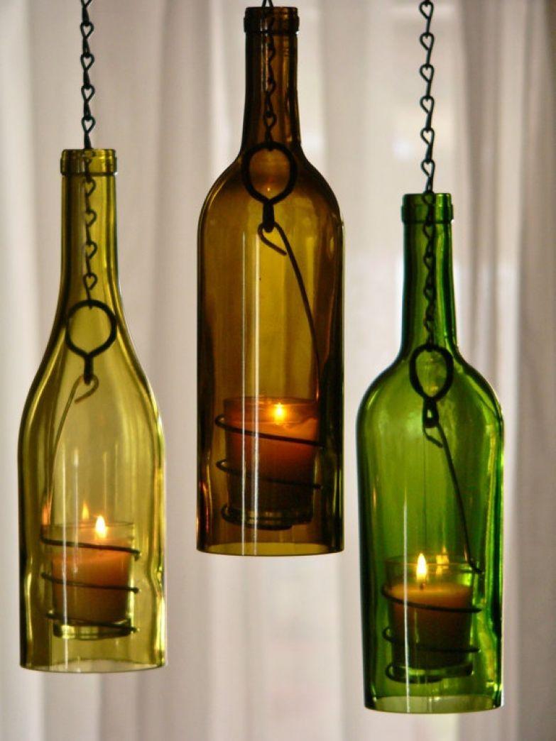 Поделки из стеклянных бутылок - 40 99