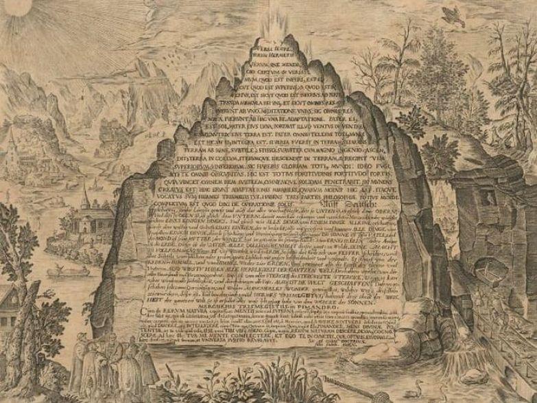 Гравюра изумрудной таблички, которую переводил Ньютон.