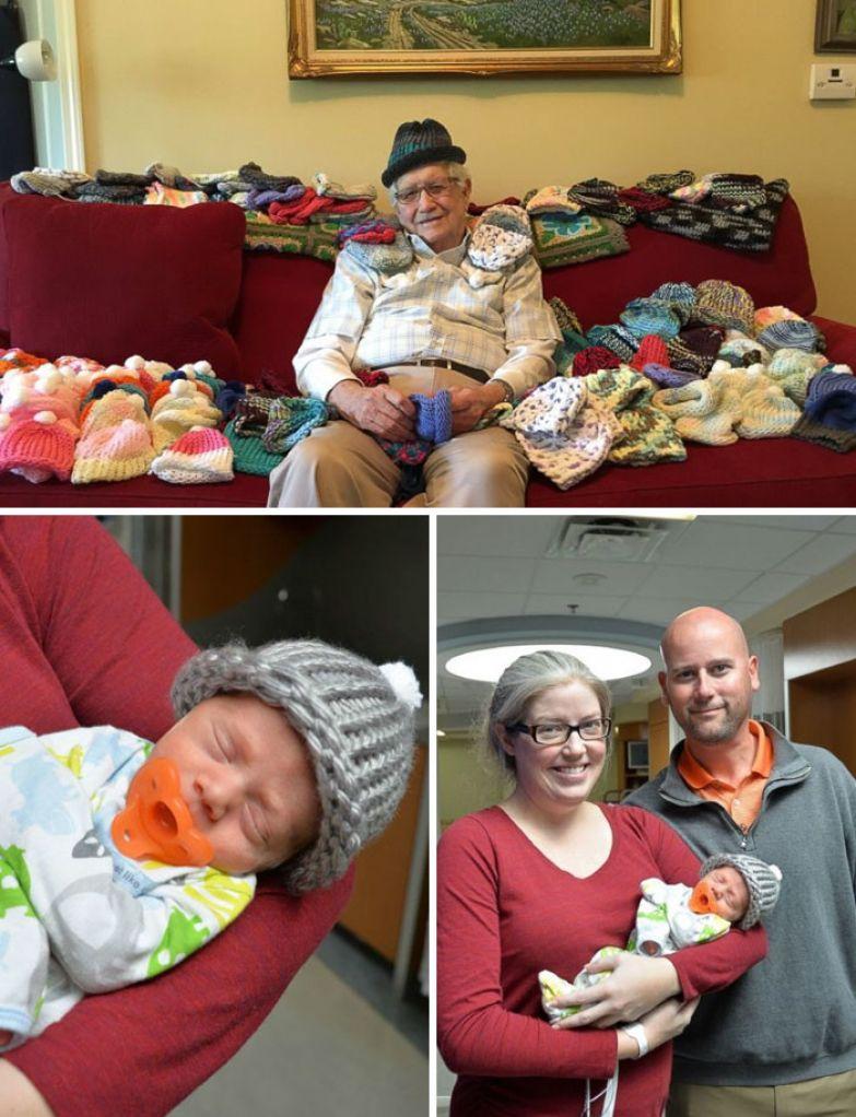 38. 86-летний мужчина вяжет шапочки для недоношенных младенцев доброта, мир, поступок